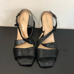 Antonio Melani Black Leather Sparkle Heels